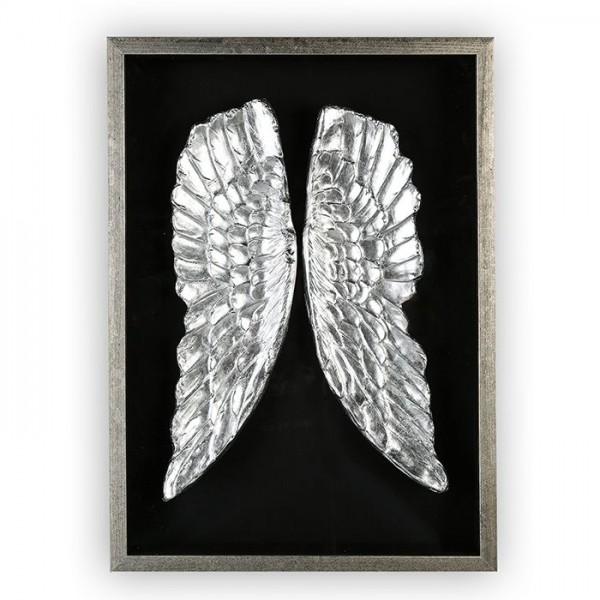 Wandbild Engelflügel 70x50cm Casablanca Silber Glas plastisch Flügel Engel 3D Bild