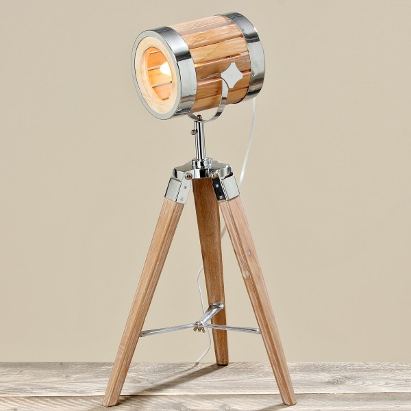 Studiolampe Tripod 66cm Höhe aus Holz Stehlampe Studio