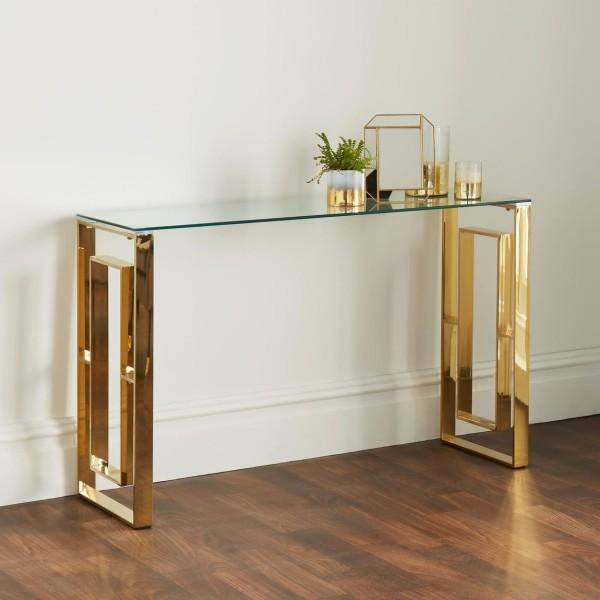 Konsolentisch Gold Glas 120cm Richard Chrom poliert Tisch Edelstahl