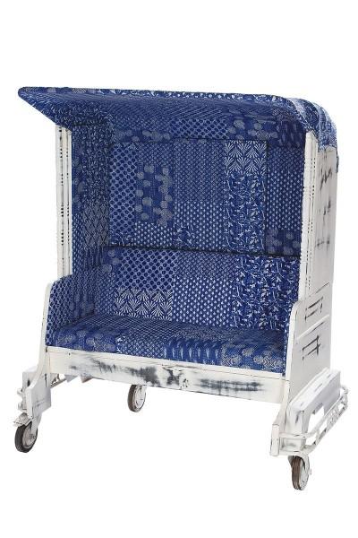 Sessel Tuk Tuk Zweisitzer Casablanca Blau Autorikscha Sofa Stuhl Bank Gartenbank