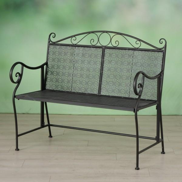 Edle Gartenbank Lilly 105cm Garten Bank Eisen Antik Braun Stuhl Metall Balkon