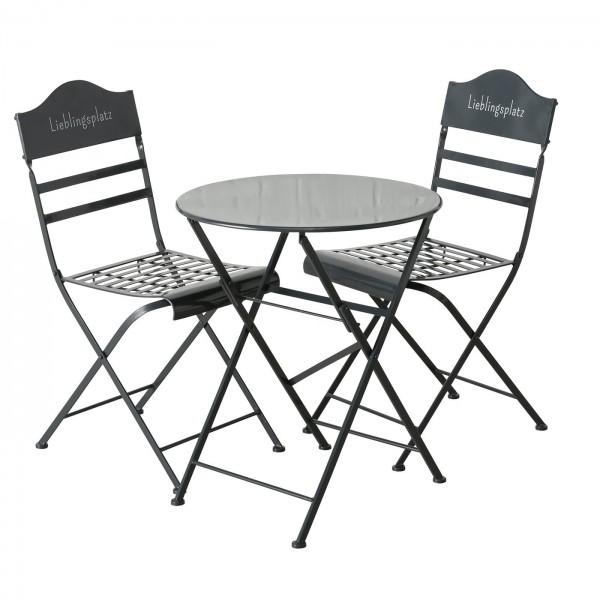 Tolles Tisch Set 2 Stühle Lieblingsplatz Grau Gartentisch Gartenstuhl Garten Stuhl Eisen