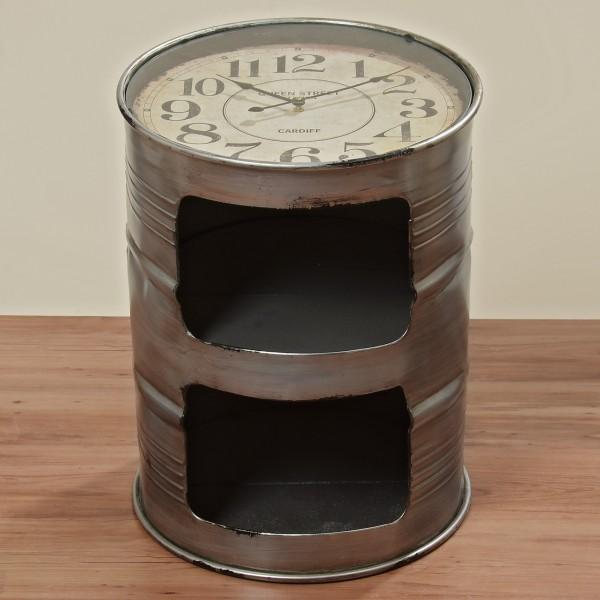Geniale Kommode Uhr Ölfass 59cm Tisch Fass Eisen Beistelltisch Grau