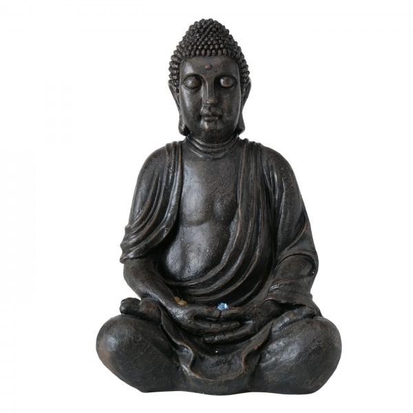 XL Brunnen Buddha 83cm Grau Braun Mönch Pumpe Beleuchtung Brunnenbuddha