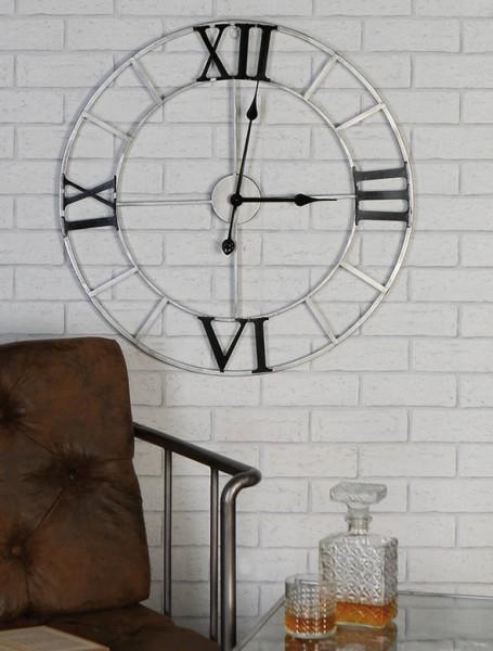 Casablanca Wanduhr Factory 64cm Uhr Silber Schwarz Industrie Industry