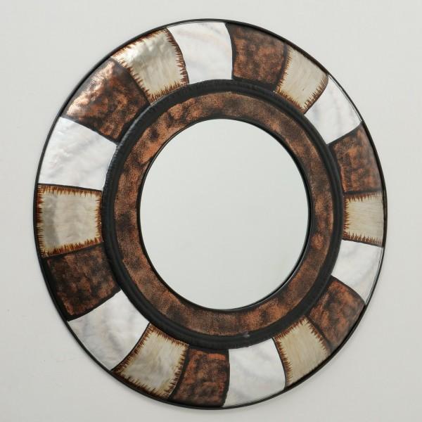 XL Wandspiegel Nimbus 90cm rund Eisen Braun Beige Weiß Spiegel