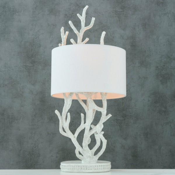 Tischlampe Sango Antik Weiss Holz 68cm Ast Zeige Baum Landhaus Lampe Tischleuchte