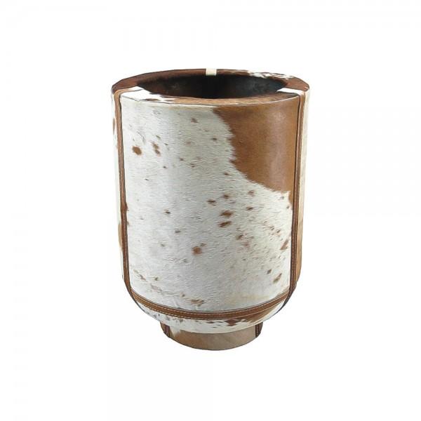 Edle Vase Kuhfell 35cm Braun Fell Blumenvase Übertopf Kuhfellvase Dekovase