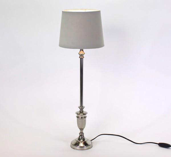 Tischlampe Marseille Silber 54cm Schirm Grau Tischleuchte Stehleuchte