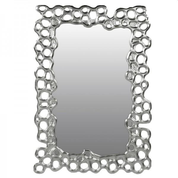 Edler Casablanca Wandspiegel Bubble 100x70cm Silber Spiegel Blasen Löcher Rahmen