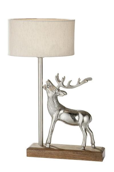 Tischlampe Hirsch 45cm Casablanca Holz Silber Schirm Lampe Geweih Tischleuchte