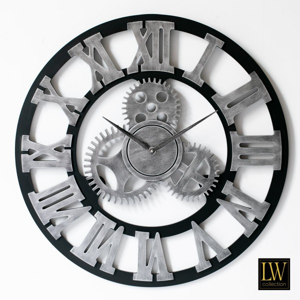 Wanduhr Industrie Holz 80cm Silber Zahnräder Uhr Wand Industry