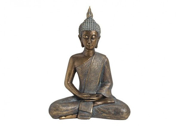 Buddha Gold 43cm Antik Figur Modell Kupfer Mönch Buddhafigur Statue