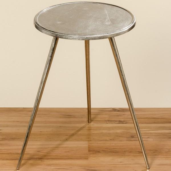 Beistelltisch Silber 63cm Metall Dreifuß Alu Aluminium Dreibein Tisch Couchtisch