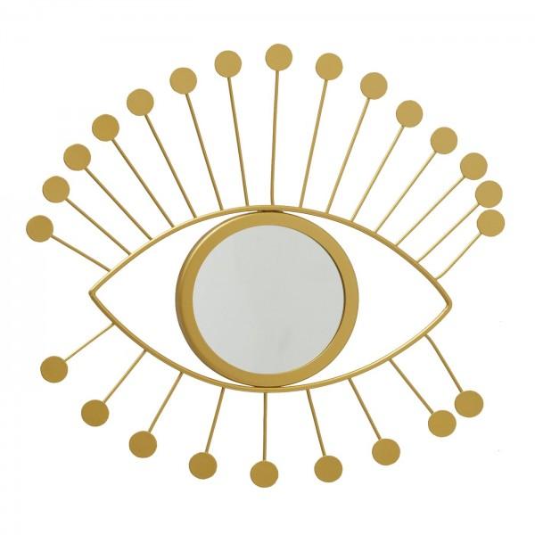 Ausgefallener Wandspiegel Viosos Auge Eisen Gold Rund 33cm Spiegel
