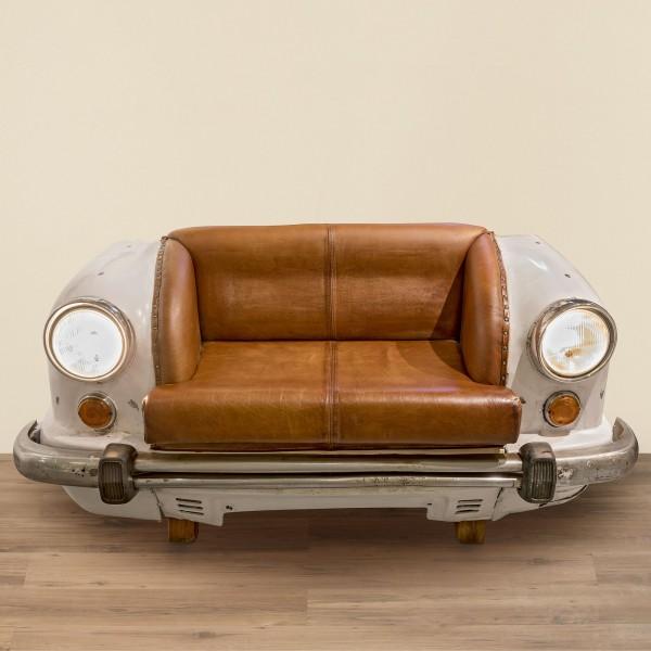 Edles Sofa Zweisitzer Sitzbank Ambassador Auto Bank Leder Sessel Metall B 158cm