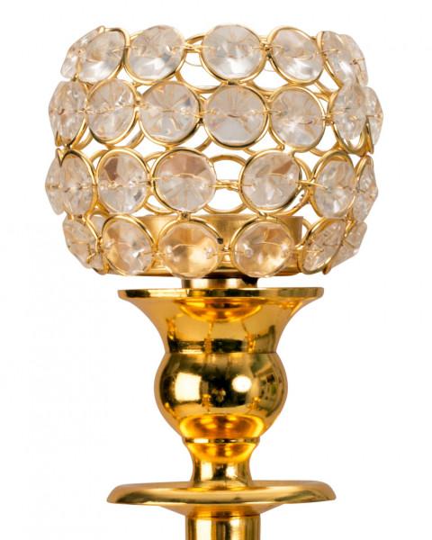 Edler Teelichtaufsatz für Kerzenleuchter Gold Glas Windlichtaufsatz Teelichthalter