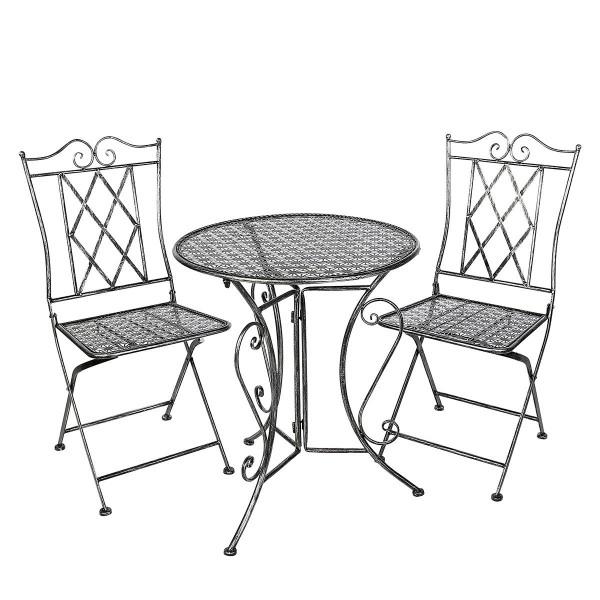 Tisch Set 2 Stühle Stella Casablanca Gartentisch Grau Gartenstuhl Garten Stuhl