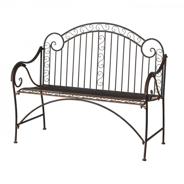 Edle Gartenbank Pablo 118cm Garten Bank Eisen Antik Braun Stuhl Metall Balkon