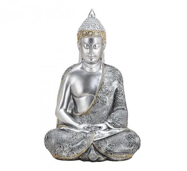 Edler Buddha 38cm in Silber Gold Figur Modell bunt Mönch Buddhafigur Statue