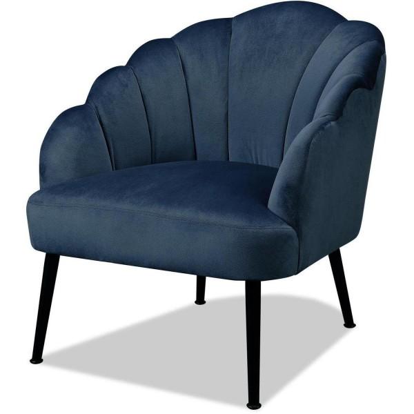 Sessel Blau Samt Muschel Clubsessel Loungesessel Samtsessel Stuhl