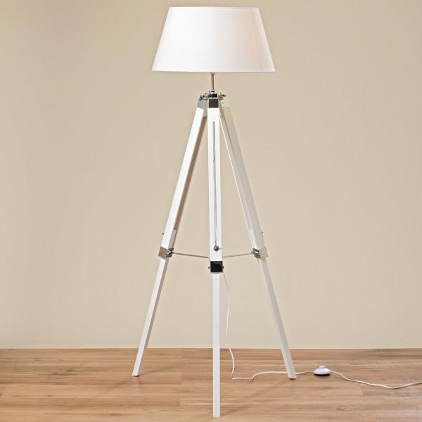 Stativlampe 147cm Weiß Schirm Holz Stativ Stehlampe Lampe Teleskop Teleskoplampe Tripod