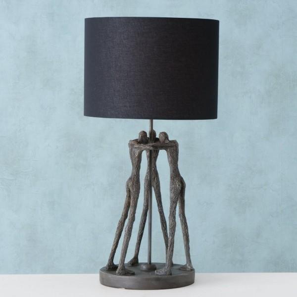 Edle XL Tischlampe Cali 69cm Grau Schwarz Figuren Schirm Lampe Tischleuchte