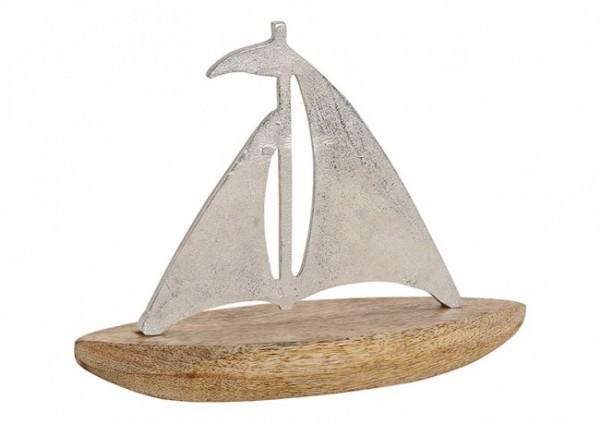 Edles Segelboot Modell Mangoholz und Metall 27cm Silber Braun Boot Schiff