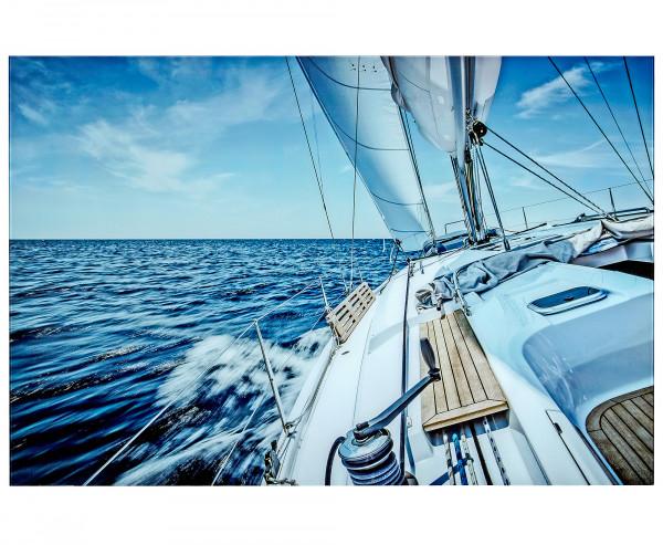 Geniales Wandbild aus Glas Sailing 120x80x5cm Bild Segelboot Boot Türkis Blau