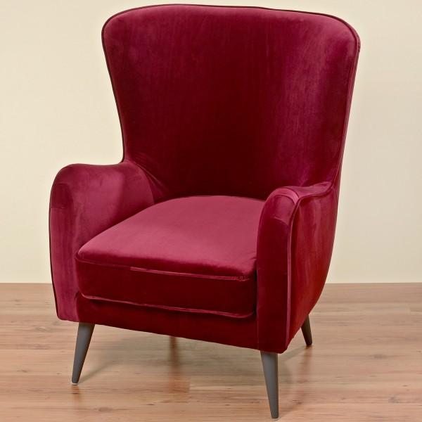 Sessel in Rot Modell Ziena 102cm Clubsessel Loungesessel Samtsessel
