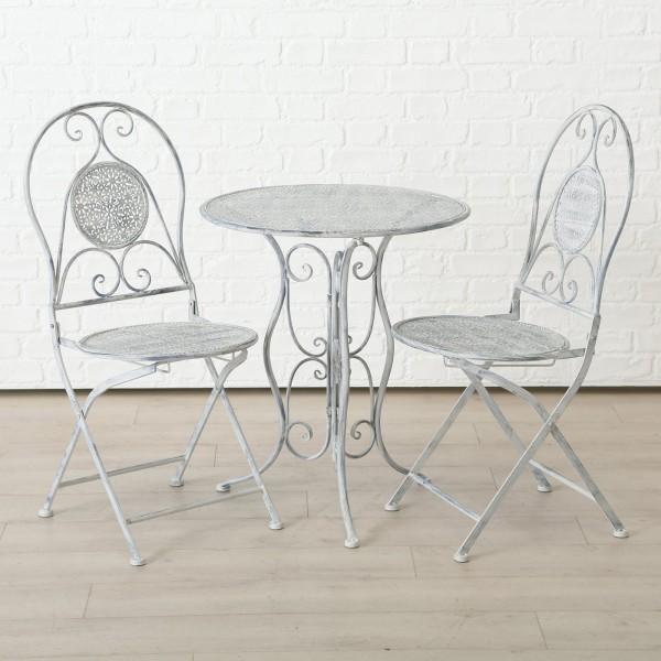 Tisch Set 2 Stühle Lilli Gartentisch Shabby Grau Gartenstuhl Garten Stuhl Eisen