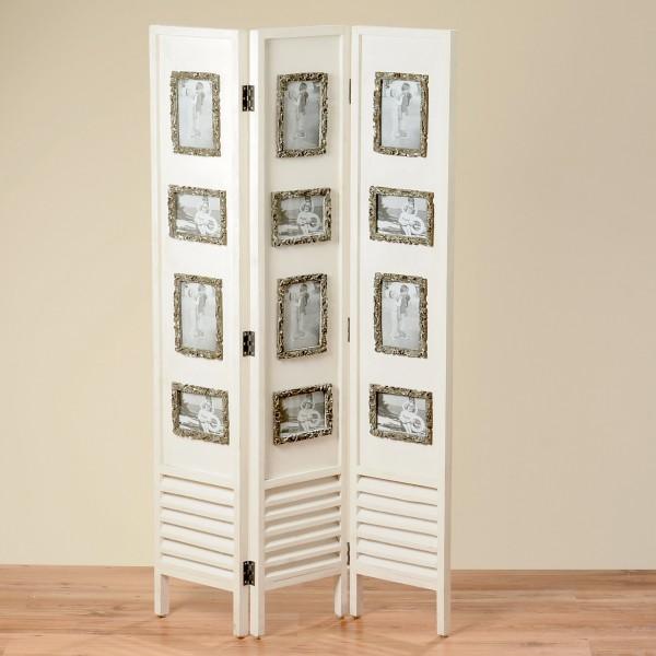 Paravent aus Holz in Weiß mit silberenen Bilderrahmen 144cm Höhe