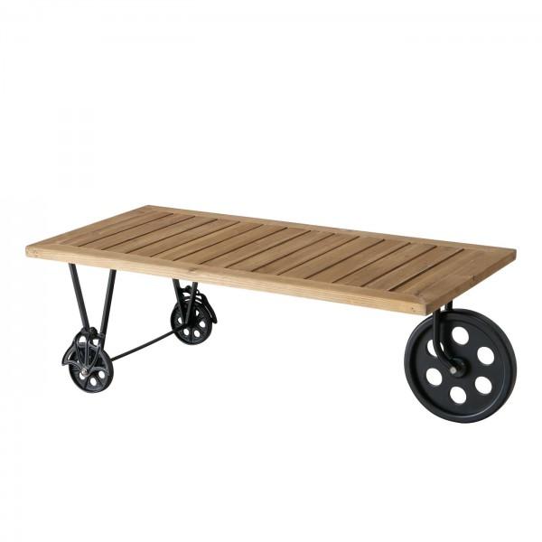 Genialer Beistelltisch auf Rollen Collo 120cm Holztisch Holz Tisch Eisen Schwarz Braun