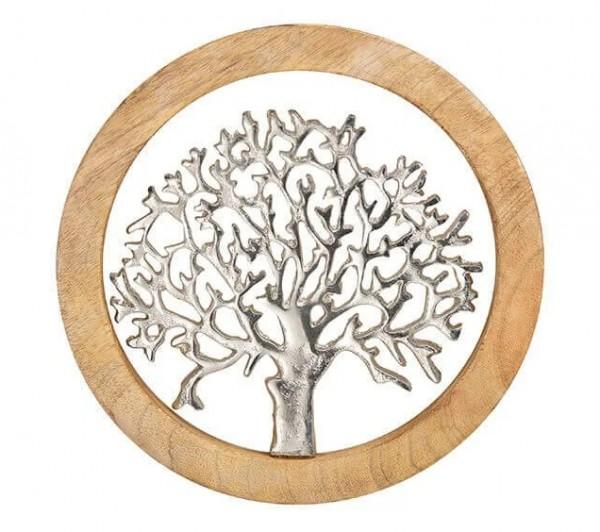 Wand Dekoration Baum 25cm Holz Alu Braun Silber Wanddeko Bild Baumdekoration