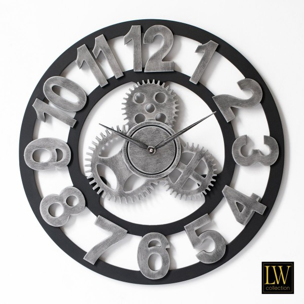 Wanduhr Industrie Silber Holz 80cm Zahnräder Uhr Wand Industry