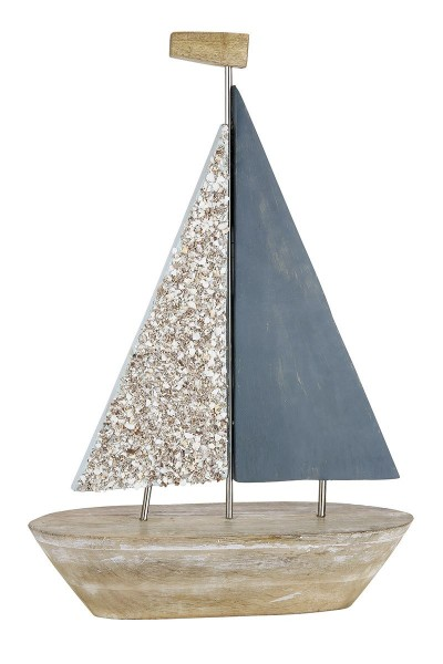 Edles Segelboot Modell 58cm Nave Braun Blau Casablanca Boot Holz Schiff