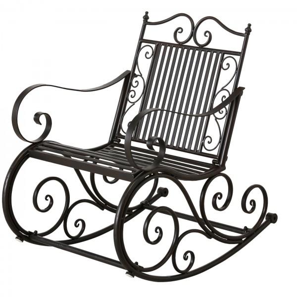 Edler Schaukelstuhl Cambo Garten 93cm Eisen Braun Antik Metall Stuhl