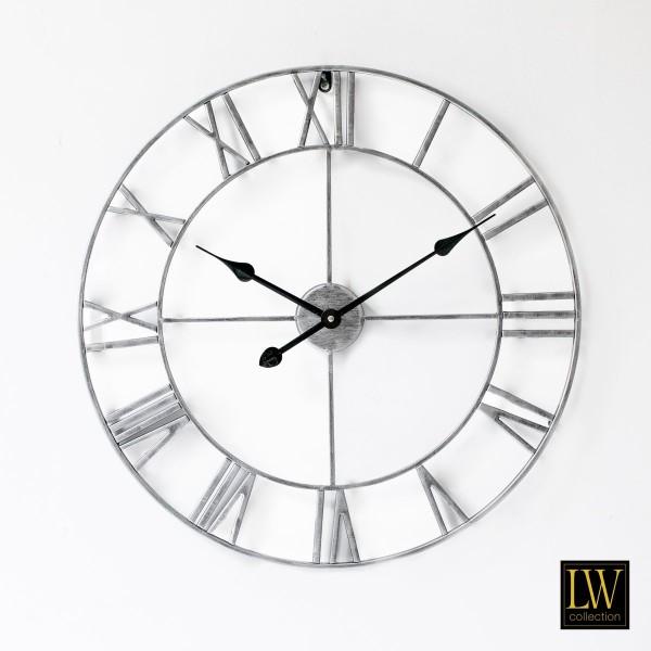 Große Wanduhr 60cm Olivier Silber Metall Rom Uhr Wand Italien