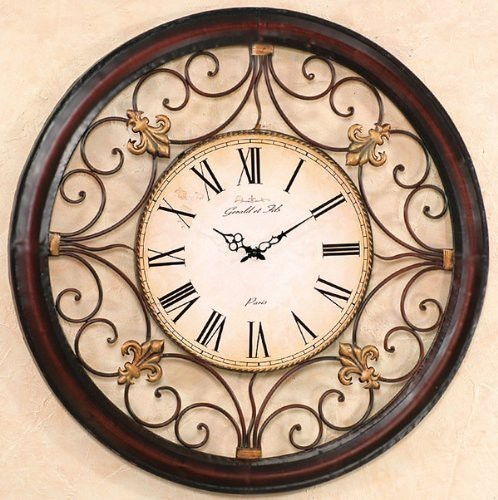 XXL Wanduhr Paris 92cm Braun Landhaus Uhr Eisen Antik Barock