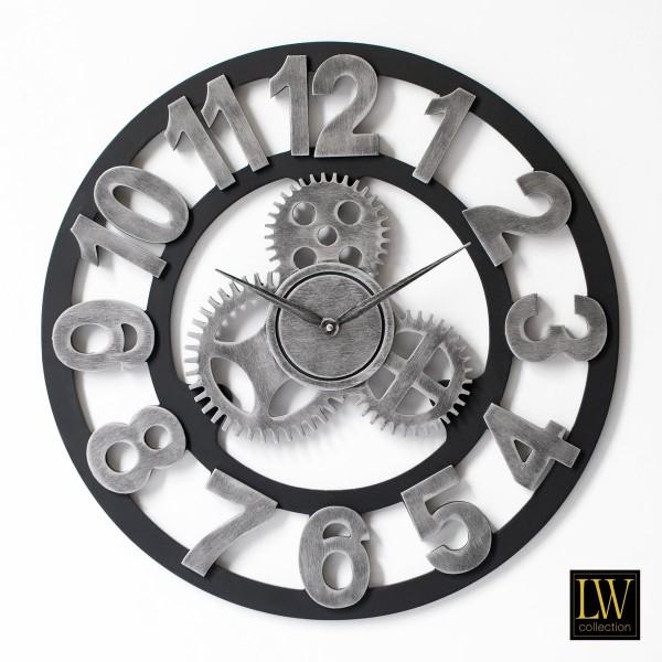 Wanduhr Industrie Silber Holz 60cm Zahnräder Uhr Wand Industry