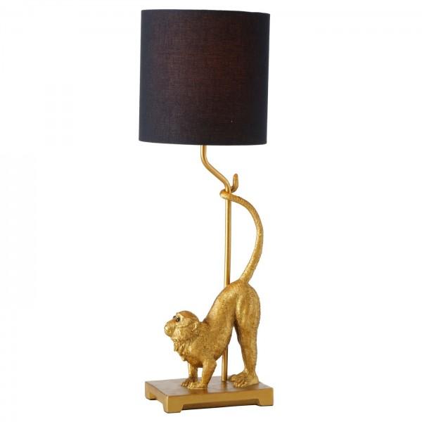 Edle Tischlampe Affe 62cm Gold Schwarz Äffchen Schirm Lampe Tischleuchte