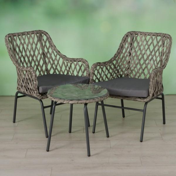 Tisch Set 2 Stühle Siena Gartentisch Braun Rattan Gartenstuhl Garten Stuhl