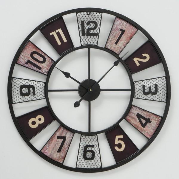 Große XL Wanduhr Odessa Braun D73cm Metall Schwarz Weiss Vintage Uhr