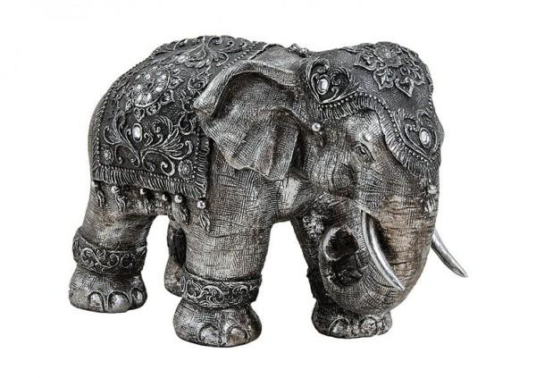 XL indischer Elefant 40cm Silber Metall Optik Indien Figur Elephant Modell