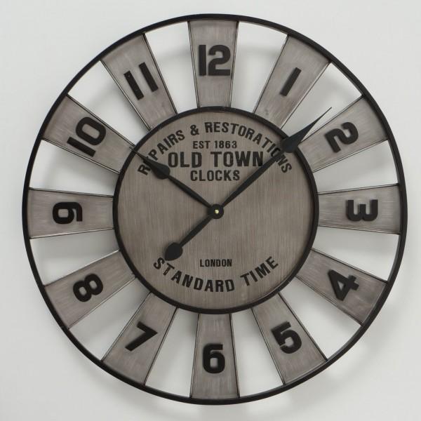 Große XL Wanduhr Queens Zink D73cm Metall Silber Grau Vintage Uhr