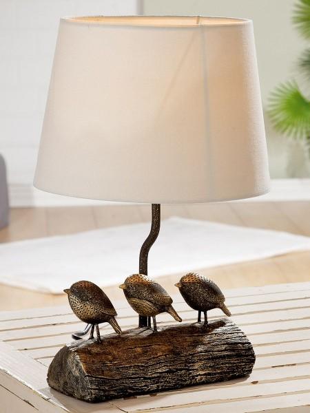 Tischlampe Vögel Woody Casablanca Gilde Schwarz Vogel Tischleuchte Lampe