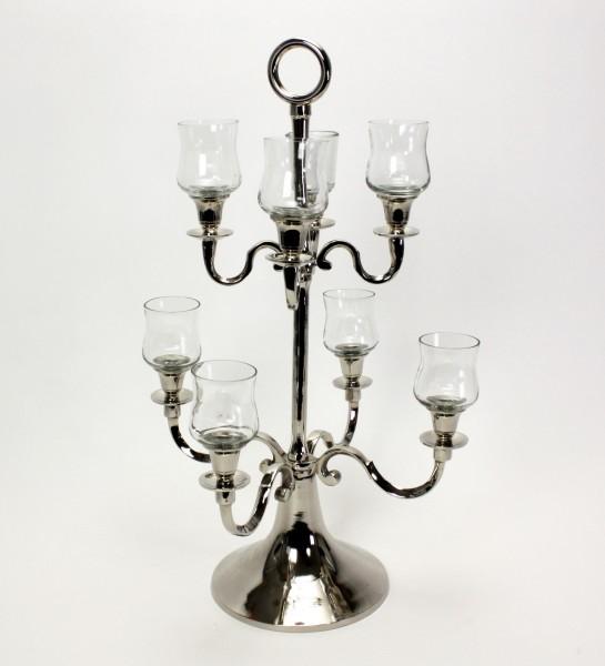 Kerzenleuchter Silber Teelichtaufsatz 63cm Metall Kerzenständer Glasaufsatz Antik Barock