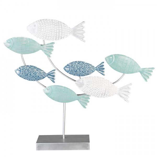 Fisch Modell auf Sockel Casablanca Metall 55cm Silber Blau Fischmodell Fischschwarm