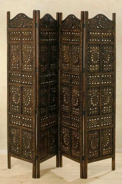 Paravent Mangoholz 180 x 200cm Holz Braun Raumteiler