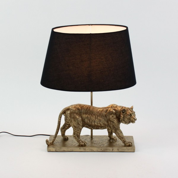 Geniale Tischlampe Tiger Gold Schwarz 60cm Gepard Leopard Tier Lampe Tischleuchte